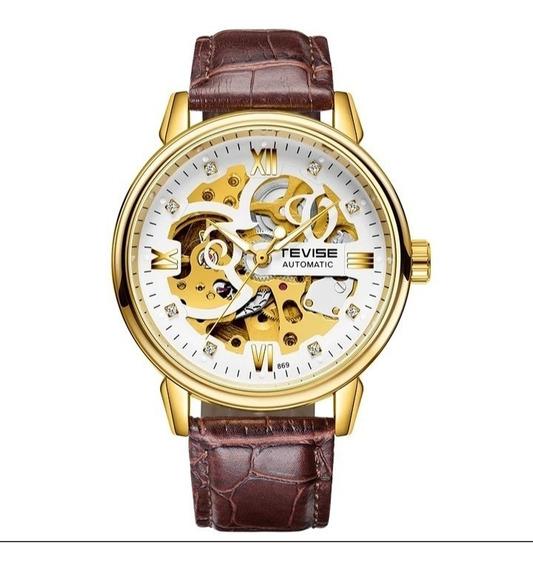 Relógio Masculino Tevise Automatico Couro Oferta C.25
