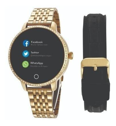 Relógio Smartwatch Seculus Troca Pulseira Com Pedras Dourado