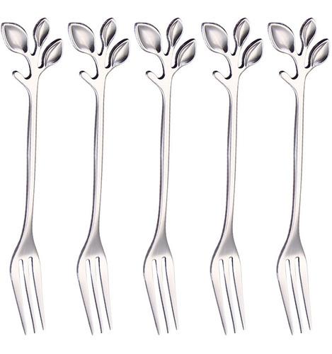 Imagen 1 de 3 de 5pcs Tenedor De Acero Inoxidable Forma De Hoja Mango Postre