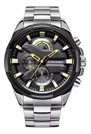 Relógio Masculino Longbo Platinum Yellow Black Frete Grátis