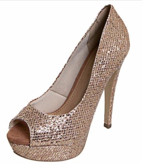 Sapato Feminino Fiveblu Peep Toe Renda Glitter Rosé