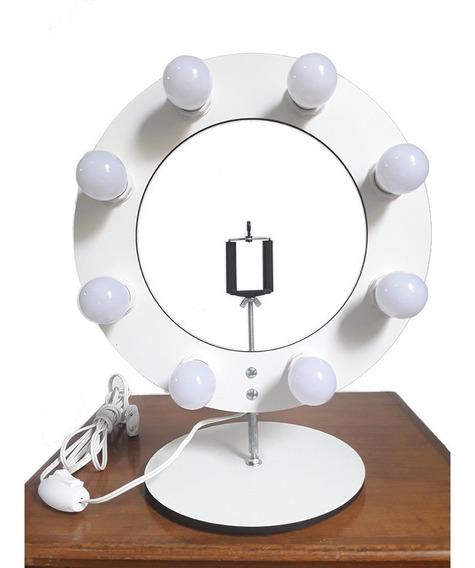 Ring Light 8 Bocais Anel De Luz 36cm P/ Selfie Make Youtuber + Suporte Celular *sem Lâmpadas