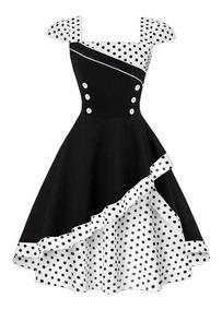 Vestido De Bolinha Anos 60 Vintage Retrô P Ao Plus Size P32