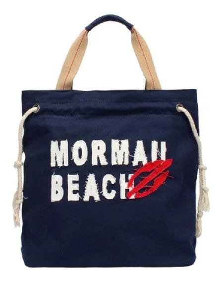 Bolsa Canvas Com Aplique Bordado Mormaii Azul Original