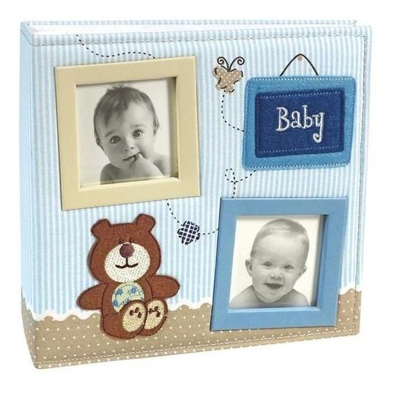 Album De Bebê Misto Diario Urso Bebê 150 Fotos Azul