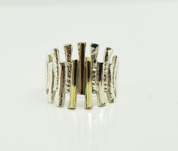 Anillo Plata Combinado En Oro - Calado - Ml12-19d