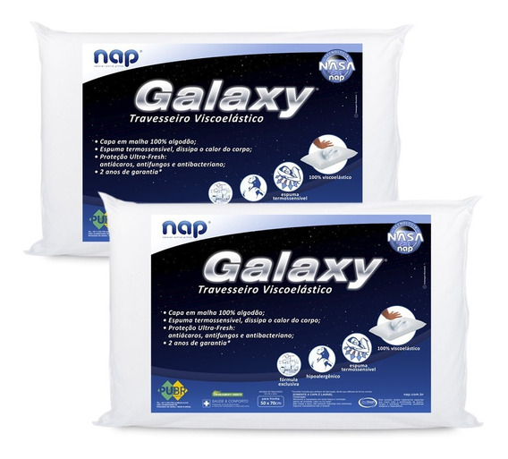 Kit 2 Travesseiros Nasa Nap Galaxy Antialérgico Toque Macio