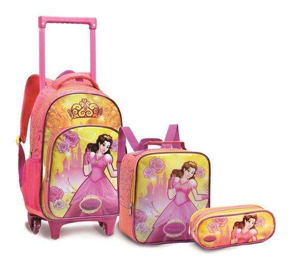 Kit Mochila Infantil Rodinha Princesas Menina Escolar K13951