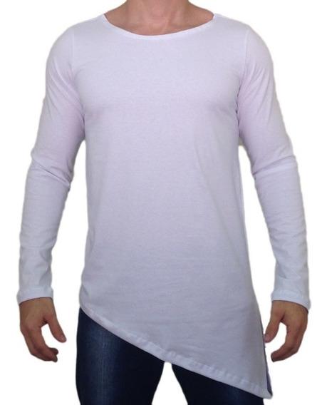 Camisa Oversized Longline Swag Manga Longa Básica Gola Canoa