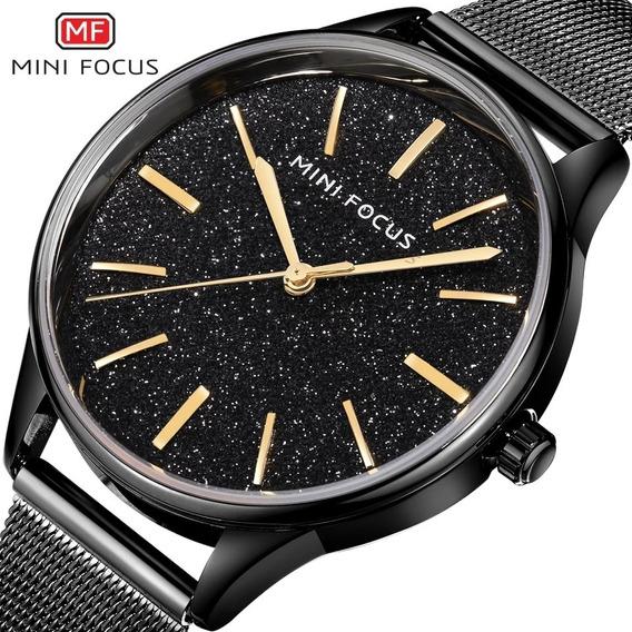 Relógio Feminino Minifocus 0044l Original Rose Dourado Preto