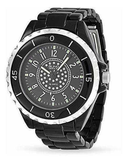 Bling Jewelry Reloj P/hombre Esfera Esmalte Negro Ace Inoxid