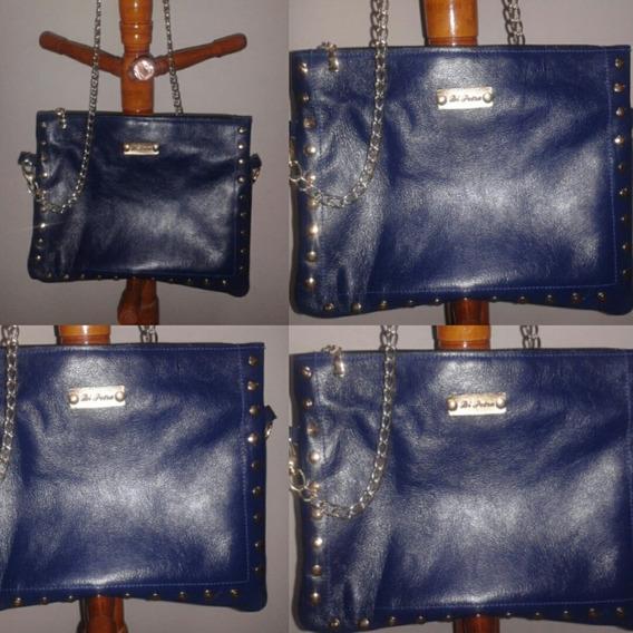 Bolsa Em Couro Legítimo, Azul Com Metais Dourados.