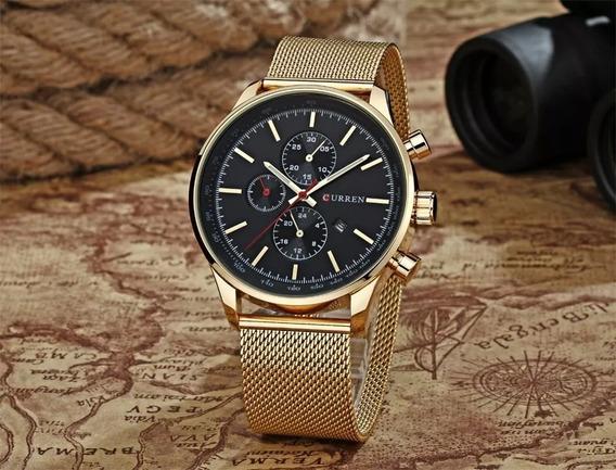 Relógio Pulso Aço Inox Curren Dourado 3 Atm Frete Grátis!!!