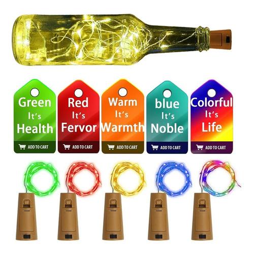 5 Juegos De Luces Led Para Botellas De Vino Con Corchos