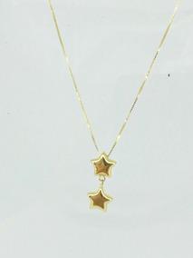 Gargantilha Veneziana Com Pingente Estrela Em Ouro 750 18k