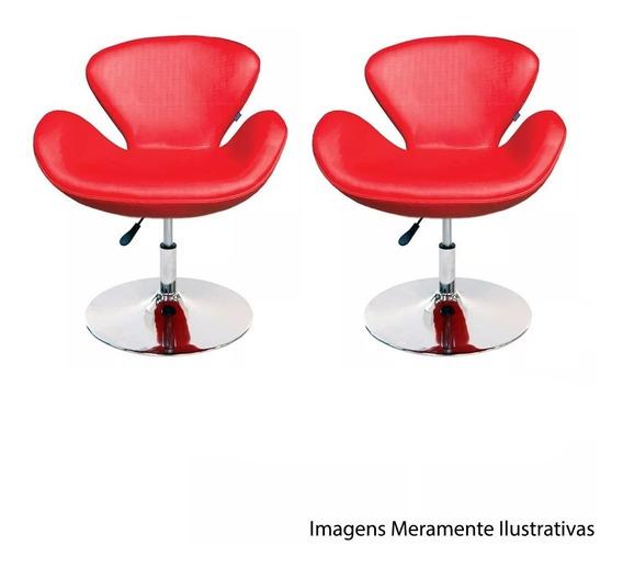 Kit Conjunto Poltronas Tulipa Vermelha Suede Giratória Moderna Designer Decoração Escritório Recepção Sala Lou Et9106-1v