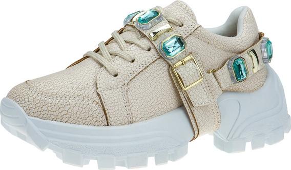 Tenis Feminino Blogueira Fashion Sneakers Chuncky Pedraria