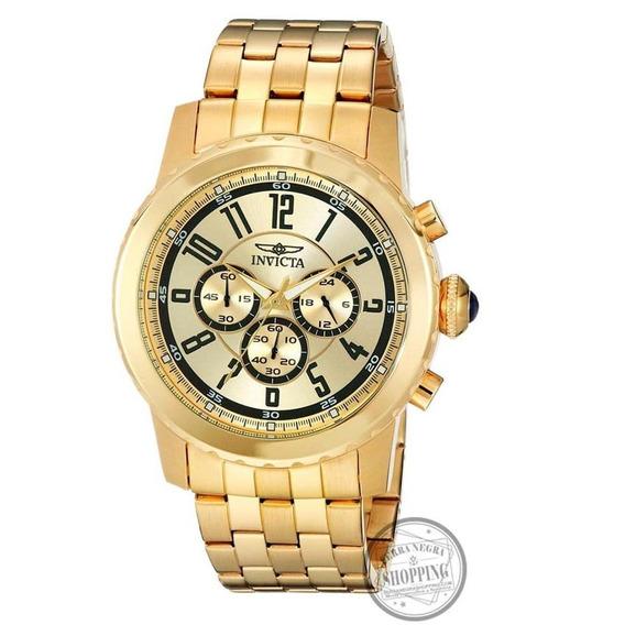 Relógio Invicta Original Mens Ouro 18k E Inox