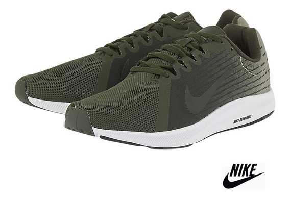 Tênis Nike Downshifter 8 Preto E Verde Escuro, Nike Running