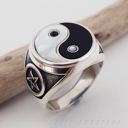 Anel Tao Yng Yang Madreperola Onix Natural Prata Fp 11063501