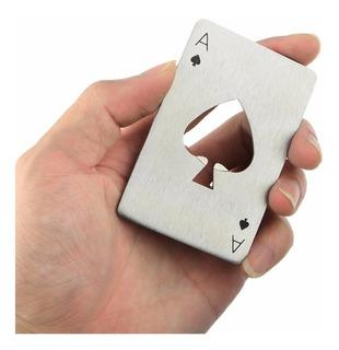 12 Destapador Poker As Picas Espadas Acero Inoxidable Carta