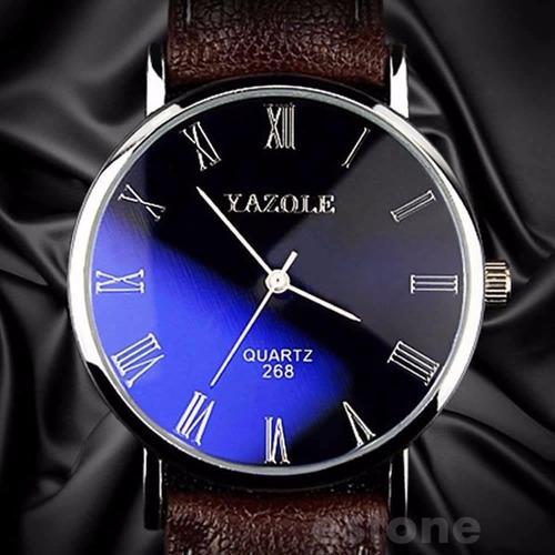 Relógio Masculino Yazole Pulso Couro Original Top