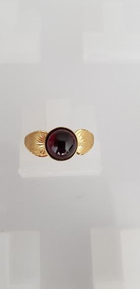 Anel Ouro 750 Quilates Pedra Preciosa Granada Rodolita Lindo