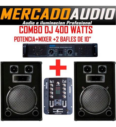 Imagen 1 de 4 de Combo Dj  Potencia+ Mixer Mdj206+2 Bafles 10 Pulgadas
