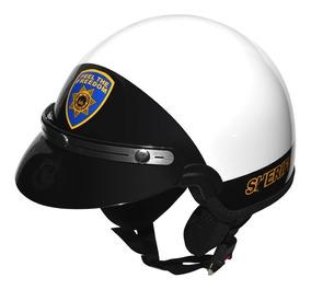 Capacete Kraft Custom Sheriff Branco Pala - Inmetro