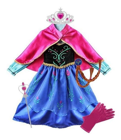 Disfraz Vestido Anna Frozen Corona Cetro Mechon Y Guantes