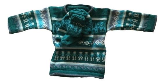 Juego De Sweater Con Gorro Calcetines Y Guantes Hecho Perú