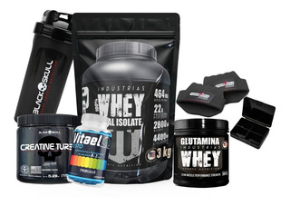 Whey Isolate 3kg Black Skull Creatina Turbo Vitael Testo