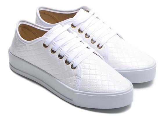 Sapatênis Calçado Feminino Solado Plataforma Branco Promoção