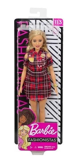 Nova Barbie Fashionistas 113 Loira Vestido Quadriculado