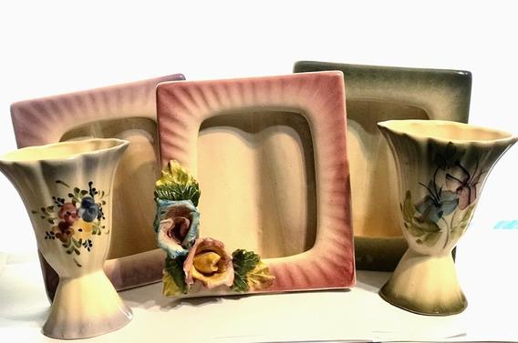 Portarretrato Ceramica Antiguo Pack X3 Y 2 Violetros D4