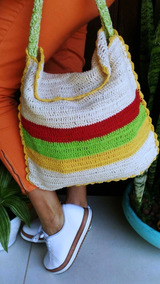 Bolsa Hippie Crochê Artesanal Tira Colo Frete Grátis (usado)