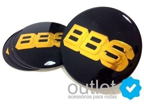 Emblema Adesivo Calota Bbs Preto C/ Dourado (69mm) Jg 4 Pçs