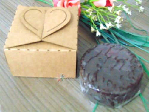 24 Caixinhas Kraft Coração Bem Casado Pão De Mel - 7cm G