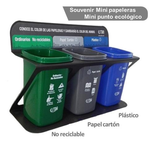 Mini Punto Ecologico X3 Puestos Lamina Mini Papeleras 0.5ltr