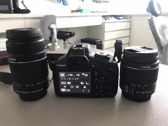 Câmera Canon T7 + Lente Efs 55-250mm + Lente Efs 18-55mm