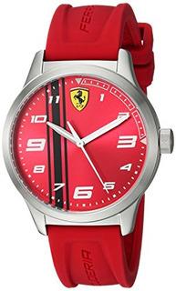 Ferrari Boy Pitlane Cuarzo Reloj De Acero Inoxidable Y Cauch