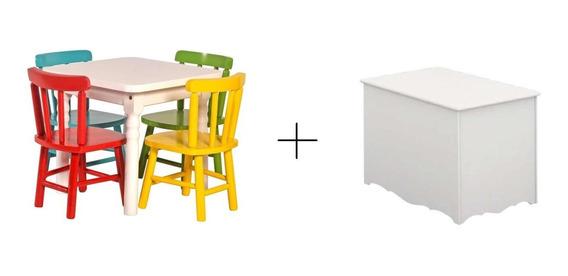 Combo Baby Jogo De Mesa Infantil 4 Cadeiras + Baú 100% Mdf