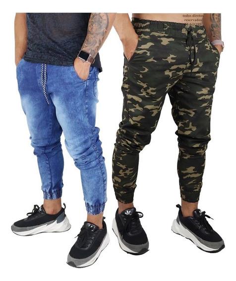Kit 2 Calças Jeans Camuflada Masculina Jogger Com Punho
