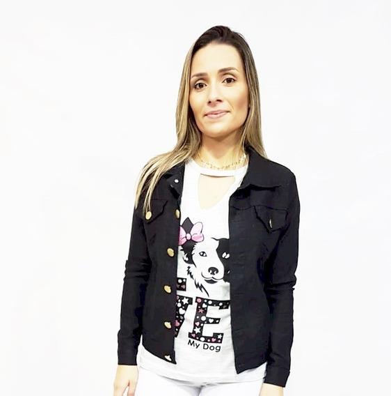 2 Jaqueta Jeans Feminina Com Lycra Do P Ao G3
