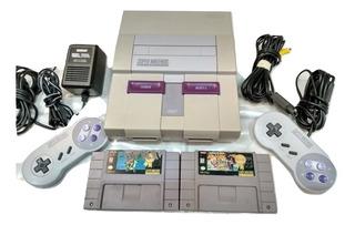 Super Nintendo Con 2 Juegos Y 2 Controles