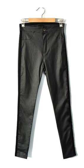 Pantalon Negro Elastizado Engomado Mujer. Tiro Alto