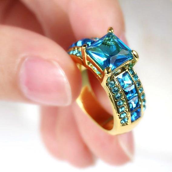 Anel Feminino Banhado Ouro Formatura Curso Cor Azul 576 I