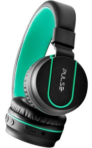 Headphone Pulse Bluetooth Ph215 Preto/verde C/nfe E Garantia