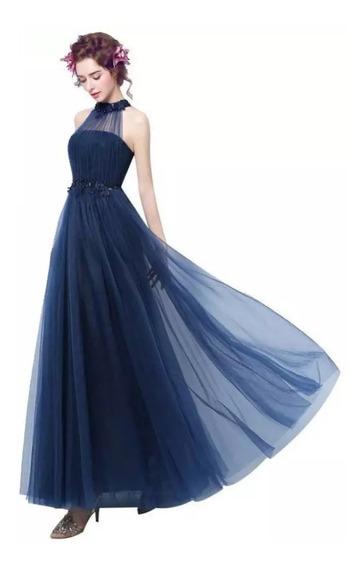 Vestido Fiesta De Noche Azul Envio Gratis E-3207
