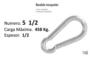 Bandola Mosqueton Clip # 5 1/2 Carga Hata 458 Kg $ Mayoreo
